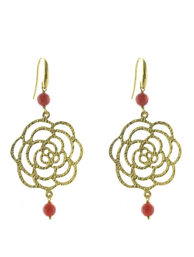 Χειροποίητο εντυπωσιακό ζευγάρι σκουλαρίκια boho style από επιχρυσωμένο ασήμι με πέτρες