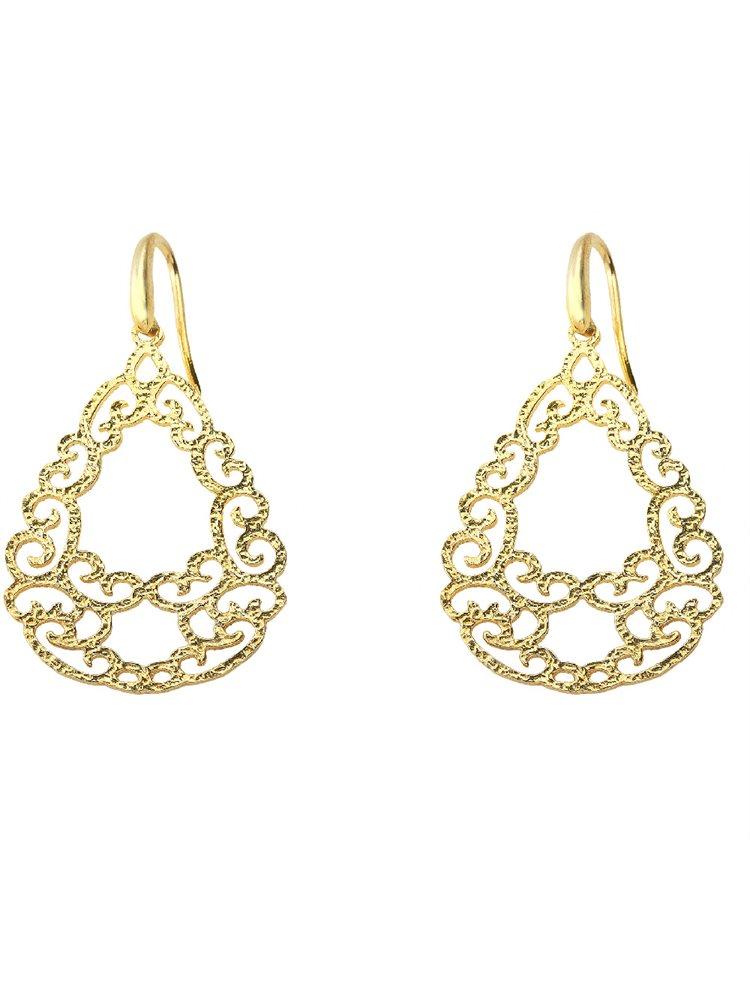 Χειροποίητο εντυπωσιακό ζευγάρι σκουλαρίκια boho style από επιχρυσωμένο ασήμι