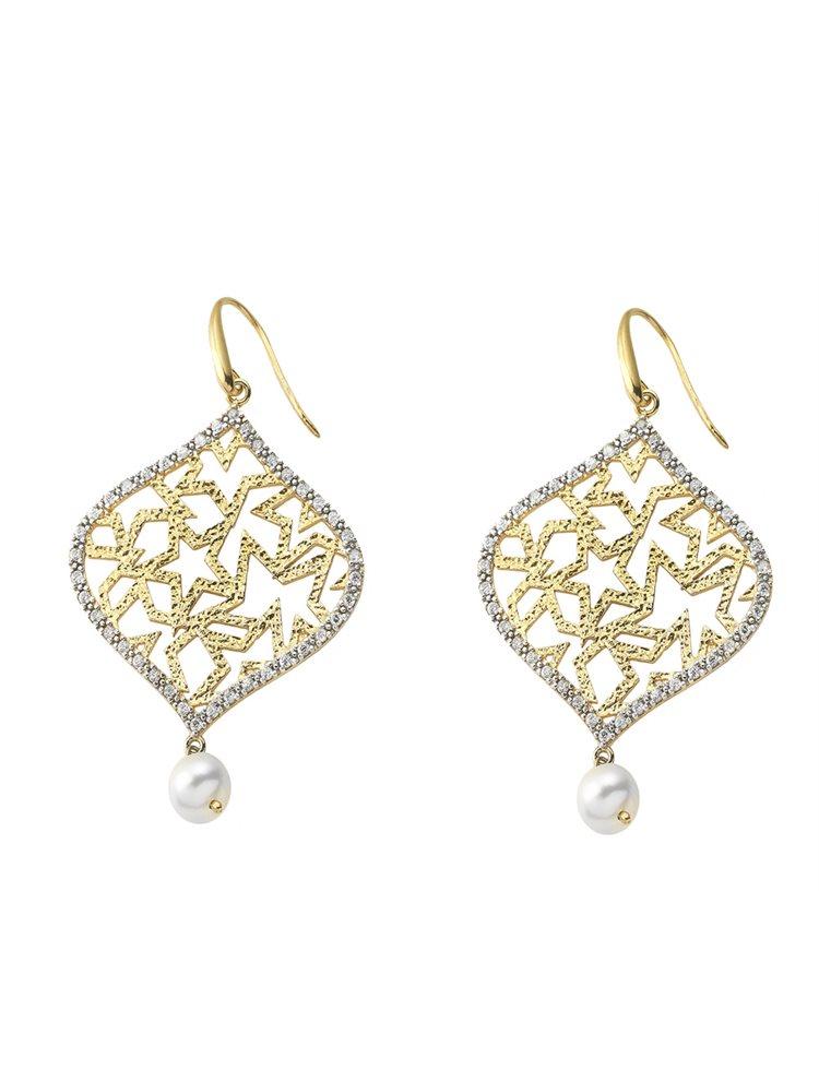 Χειροποίητο εντυπωσιακό ζευγάρι σκουλαρίκια από επιχρυσωμένο ασήμι με πέτρες ζιργκόν και μαργαριτάρι