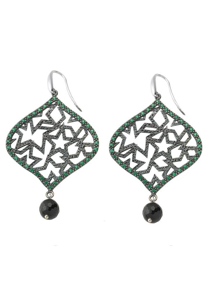 Χειροποίητο εντυπωσιακό ζευγάρι σκουλαρίκια από μαύρο πλατινωμένο ασήμι με πέτρες ζιργκόν σε πράσινο χρώμα και πέτρα
