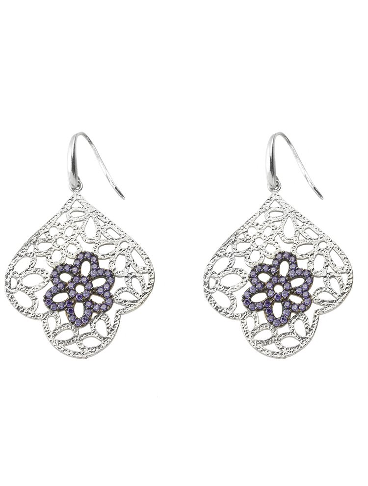 Χειροποίητο εντυπωσιακό ζευγάρι σκουλαρίκια από ασήμι με πέτρες ζιργκόν