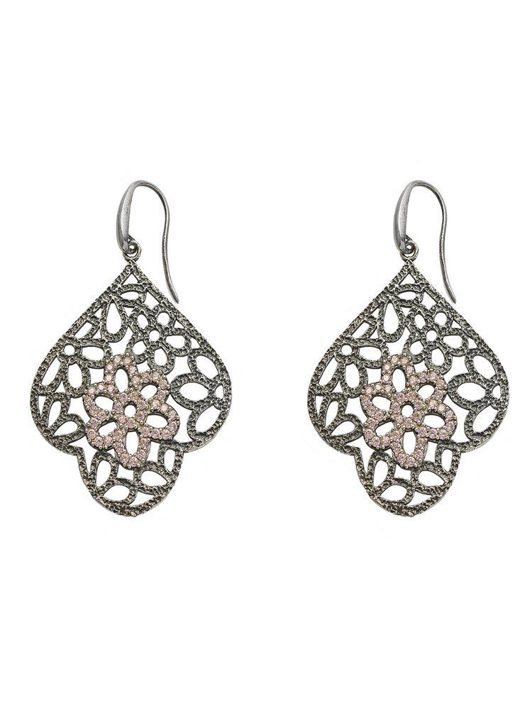 Χειροποίητο εντυπωσιακό ζευγάρι σκουλαρίκια από μαύρο πλατινωμένο ασήμι με πέτρες ζιργκόν