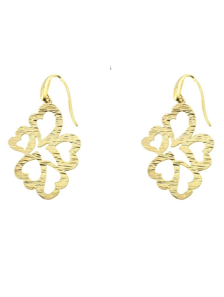 Χειροποίητο εντυπωσιακό ζευγάρι σκουλαρίκια από επιχρυσωμένο ασήμι από καρδιές