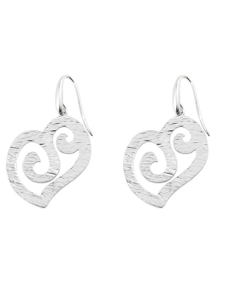 Χειροποίητο εντυπωσιακό ζευγάρι σκουλαρίκια από ασήμι σε σχήμα καρδιάς