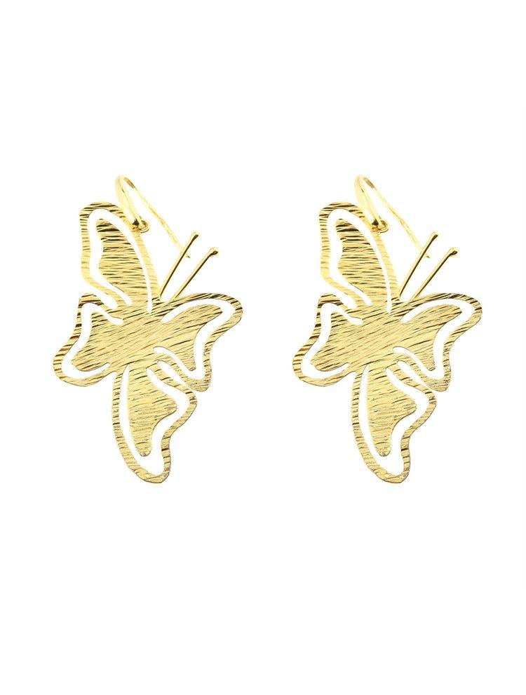 Χειροποίητο εντυπωσιακό ζευγάρι σκουλαρίκια από επιχρυσωμένο ασήμι σε σχήμα πεταλούδας