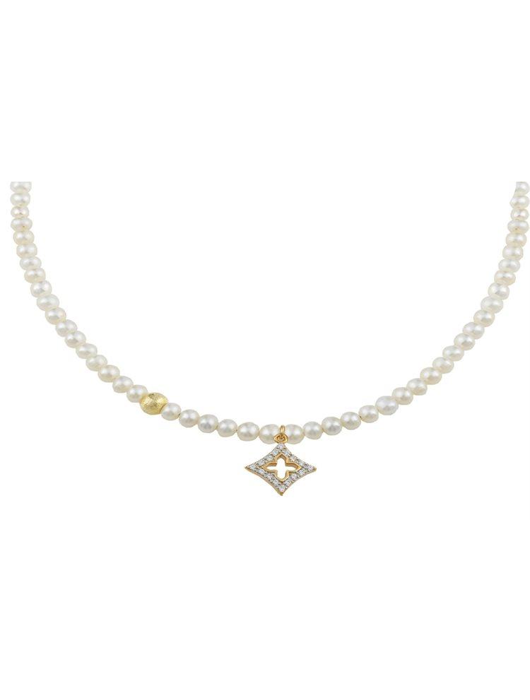 Κολιέ με μαργαριτάρια και σταυρό από επιχρυσωμένο ασήμι με πέτρες ζιργκόν