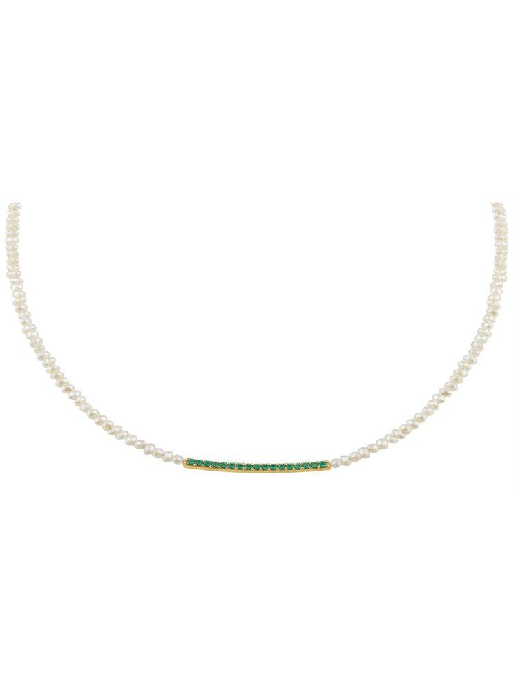 Κολιέ με μαργαριτάρια και στοιχεία από επιχρυσωμένο ασήμι με πέτρες ζιργκόν