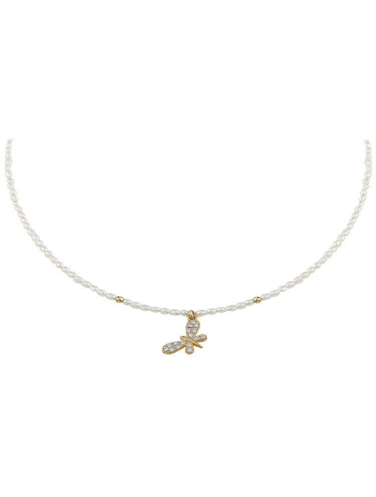Κολιέ με μαργαριτάρια και πεταλούδα από επιχρυσωμένο ασήμι με πέτρες ζιργκόν