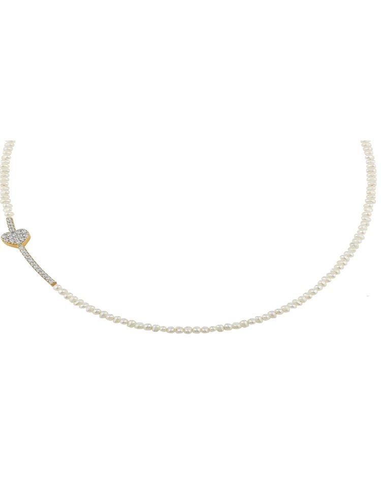 Κολιέ με μαργαριτάρια και καρδιά από επιχρυσωμένο ασήμι με πέτρες ζιργκόν