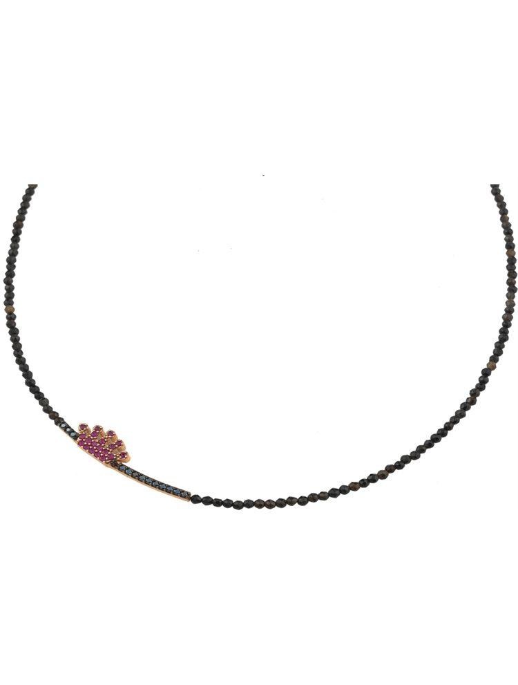 Κολιέ με πέτρες και κορώνα από επιχρυσωμένο ασήμι με πέτρες ζιργκόν