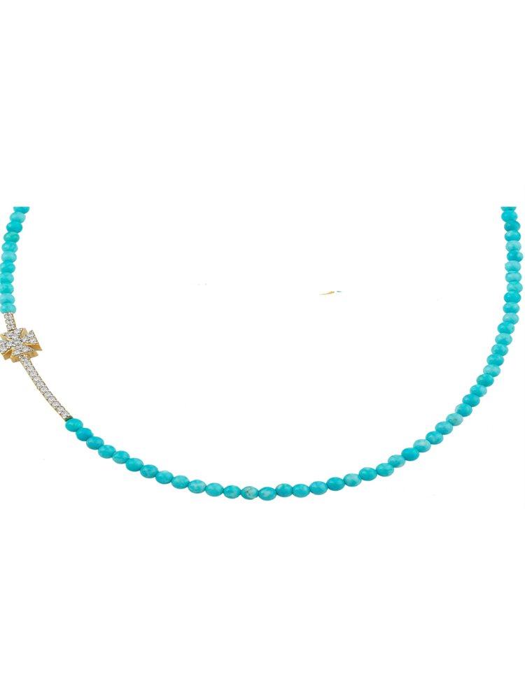 Κολιέ με πέτρες τυρκουάζ σταυρό από επιχρυσωμένο ασήμι με πέτρες ζιργκόν