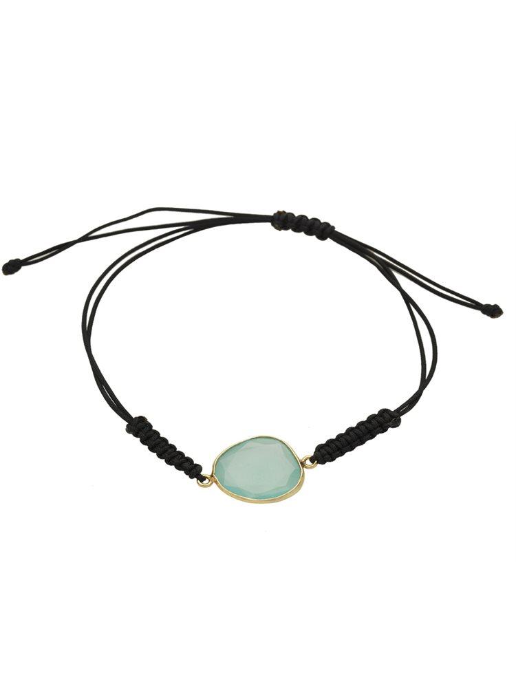 Βραχιολάκι με κορδόνι και ημιπολύτιμη πέτρα από επιχρυσωμένο ασήμι