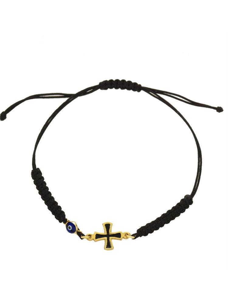 Βραχιολάκι με κορδόνι και σταυρό και ματάκι από επιχρυσωμένο ασήμι