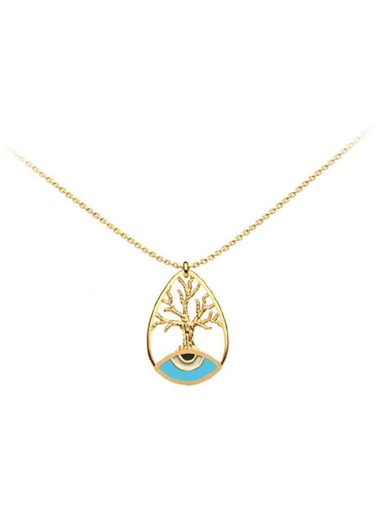 Διακριτικό κολιέ το δέντρο της ζωής με ματάκι collection Tree of life από επιχρυσωμένο ασήμι