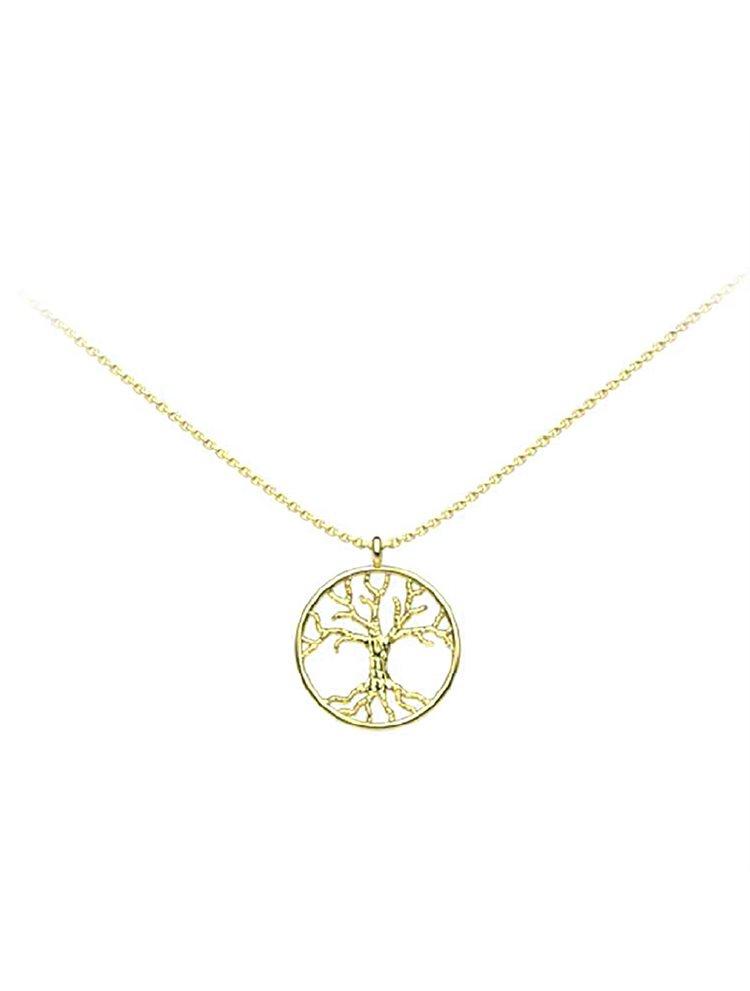 Διακριτικό κολιέ το δέντρο της ζωής collection Tree of life από επιχρυσωμένο ασήμι