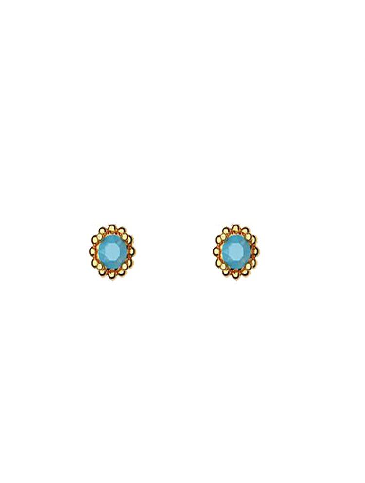 Διακριτικό ζευγάρι σκουλαρίκια με πέτρες Swarovski από επιχρυσωμένο ασήμι
