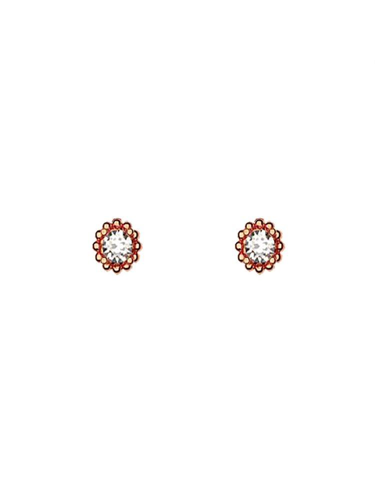 Διακριτικό ζευγάρι σκουλαρίκια με πέτρες Swarovski από ρόζ επιχρυσωμένο ασήμι