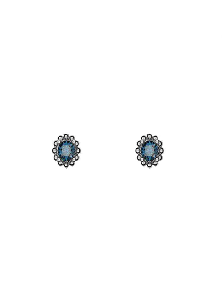 Διακριτικό ζευγάρι σκουλαρίκια με πέτρες Swarovski από μαύρο πλατινωμένο ασήμι