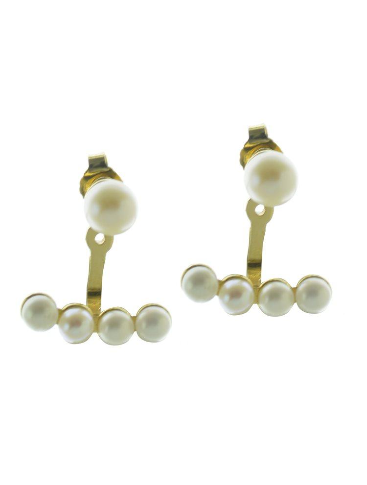 Εντυπωσιακό μοντέρνο ζευγάρι σκουλαρίκια από ασήμι με πέρλες