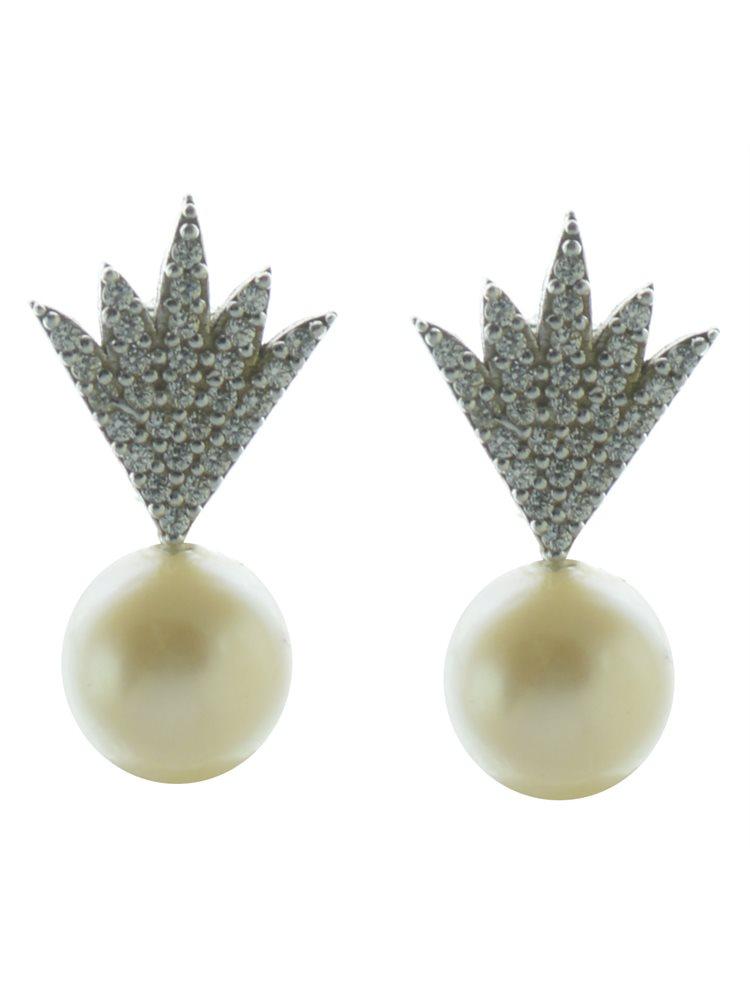 Εντυπωσιακό ζευγάρι σκουλαρίκια ασήμι με πέρλα και πέτρες ζιργκόν
