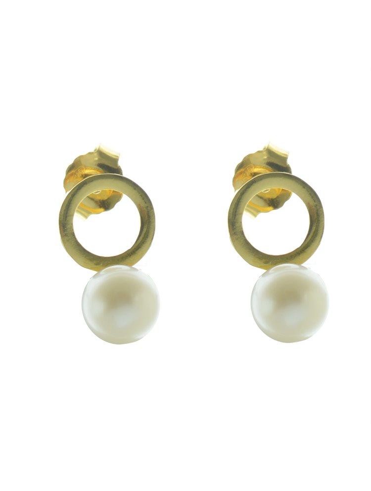 Εντυπωσιακό ζευγάρι σκουλαρίκια από επιχρυσωμένο ασήμι με πέρλα