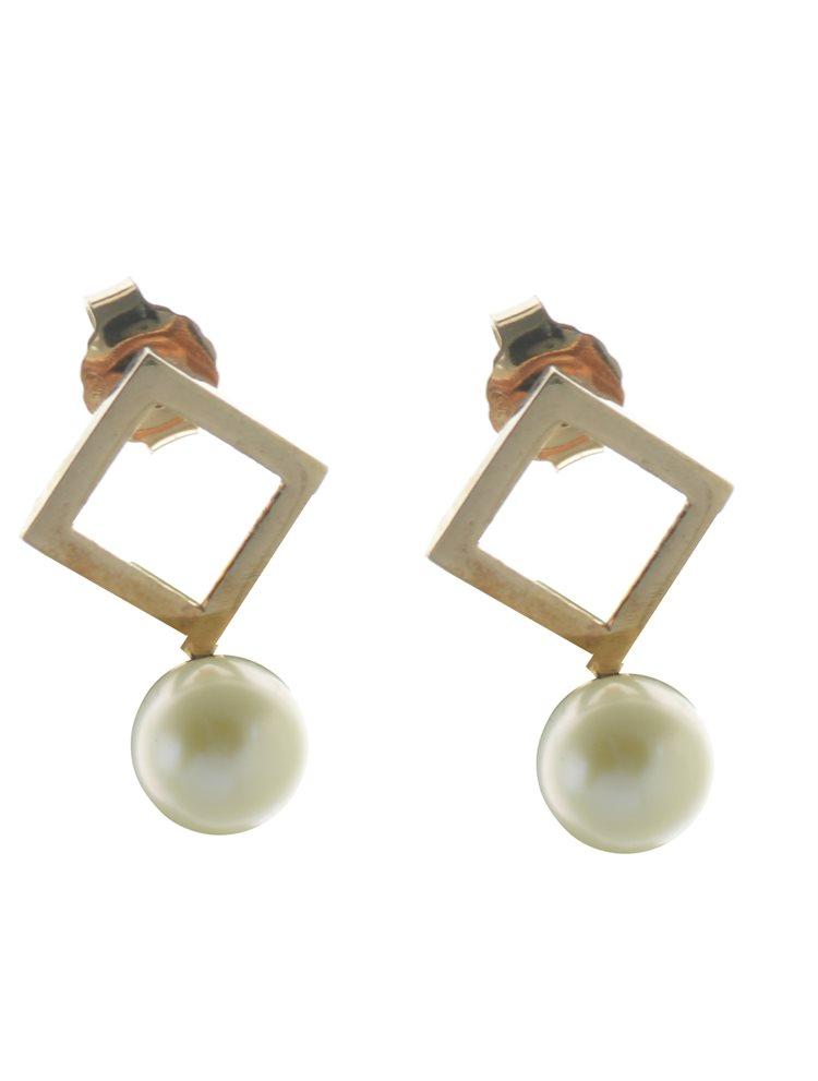 Εντυπωσιακό ζευγάρι σκουλαρίκια από ρόζ επιχρυσωμένο ασήμι με πέρλα