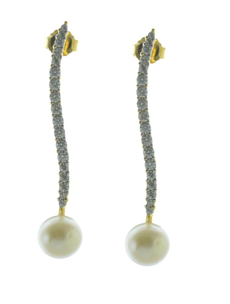 Εντυπωσιακό ζευγάρι σκουλαρίκια επιχρυσωμένο ασήμι με πέρλα και πέτρες ζιργκόν