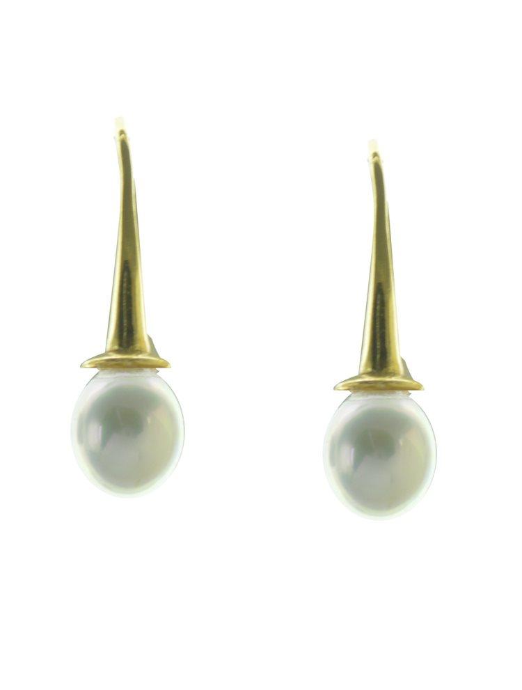 Εντυπωσιακό ζευγάρι σκουλαρίκια από επιχρυσωμένο ασήμι με πέρλα σε big μέγεθος