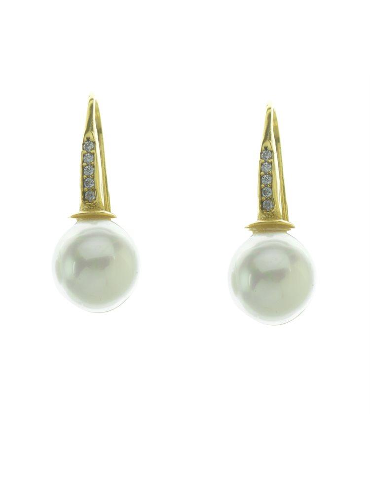 Εντυπωσιακό ζευγάρι σκουλαρίκια από επιχρυσωμένο ασήμι με πέρλα σε small μέγεθος και πέτρες ζιργκόν