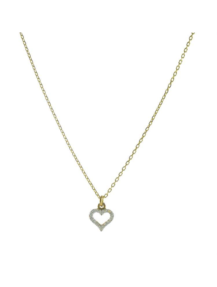 Κολιέ καρδούλα από επιχρυσωμένο ασήμι με πέτρες ζιργκόν