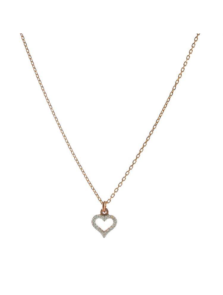 Κολιέ καρδούλα από ρόζ επιχρυσωμένο ασήμι με πέτρες ζιργκόν