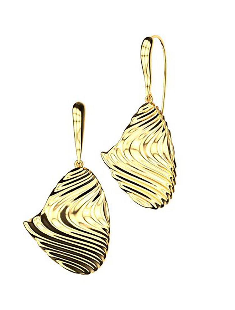 Εντυπωσιακό ζευγάρι σκουλαρίκια από επιχρυσωμένο ασήμι συλλόγη Waves