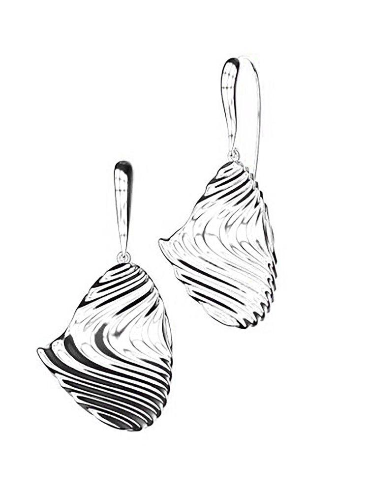 Εντυπωσιακό ζευγάρι σκουλαρίκια από ασήμι συλλόγη Waves