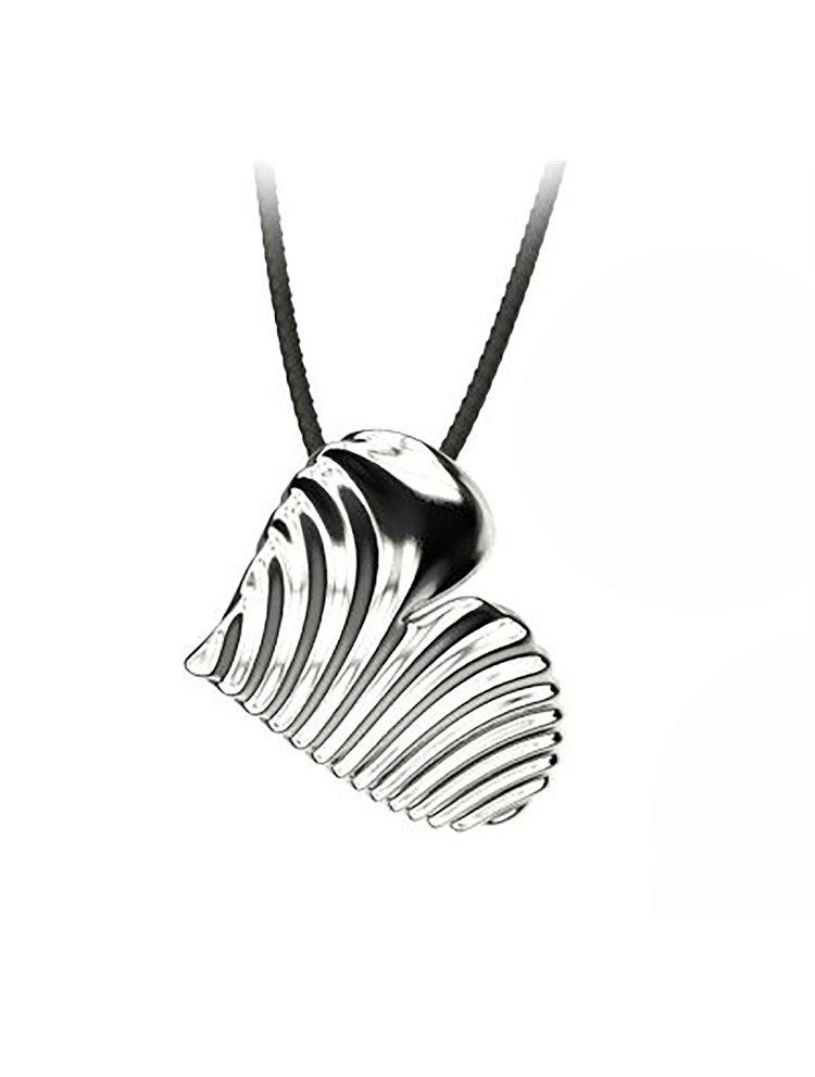 Εντυπωσιακό κολιέ από ασήμι με κορδόνι σε σχήμα καρδιά από τη συλλόγη Waves