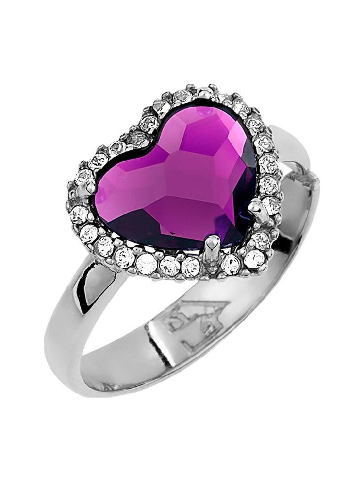 Δαχτυλίδι με πέτρες Swarovski σε σχήμα καρδιάς από ασήμι