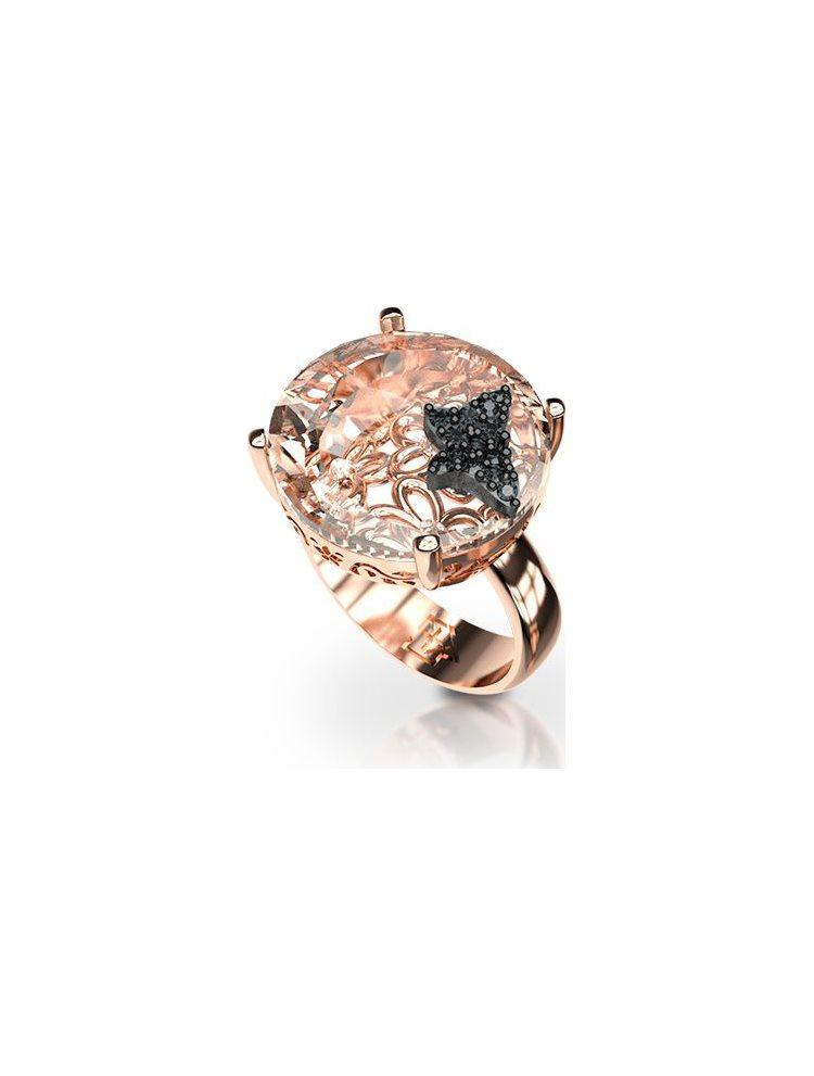 Δαχτυλίδι με πέτρα Swarovski και με πεταλούδα πάνω στην πέτρα από ρόζ επιχρυσωμένο ασήμι