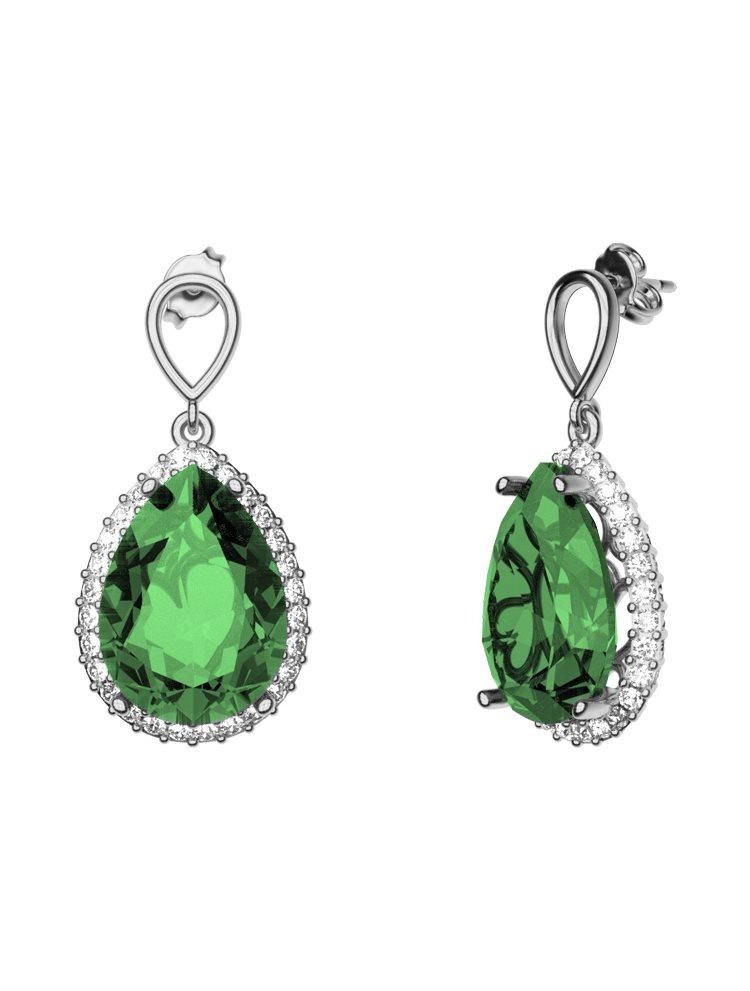 Εντυπωσιακό ζευγάρι σκουλαρίκια με πέτρες Swarovski από ασήμι