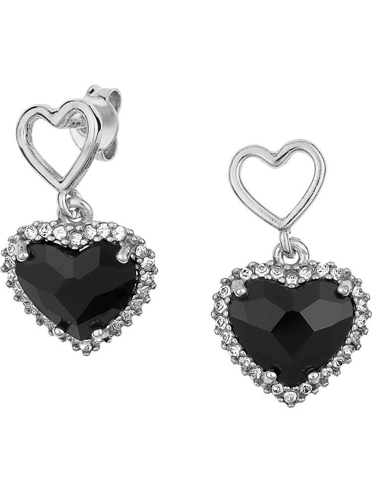Εντυπωσιακό ζευγάρι σκουλαρίκια σε σχήμα καρδιάς με πέτρες Swarovski από ασήμι