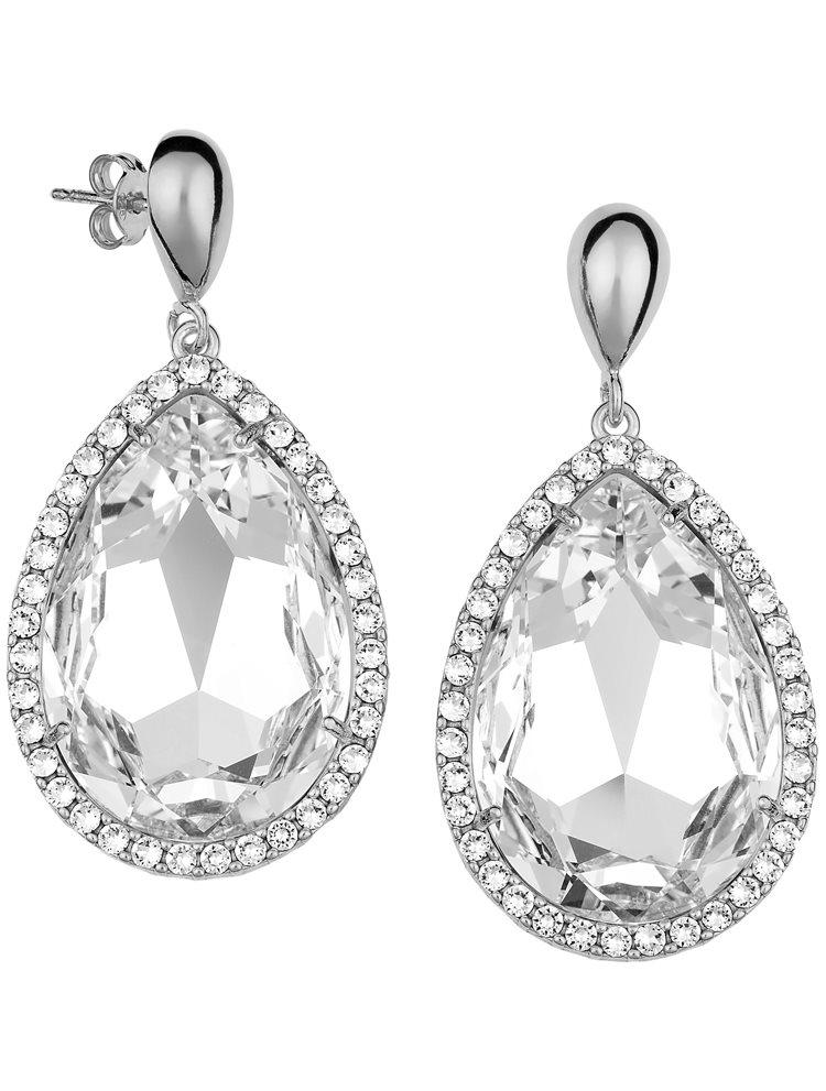 Εντυπωσιακό ζευγάρι σκουλαρίκια σε σχήμα δάκρυ με πέτρες Swarovski από ασήμι