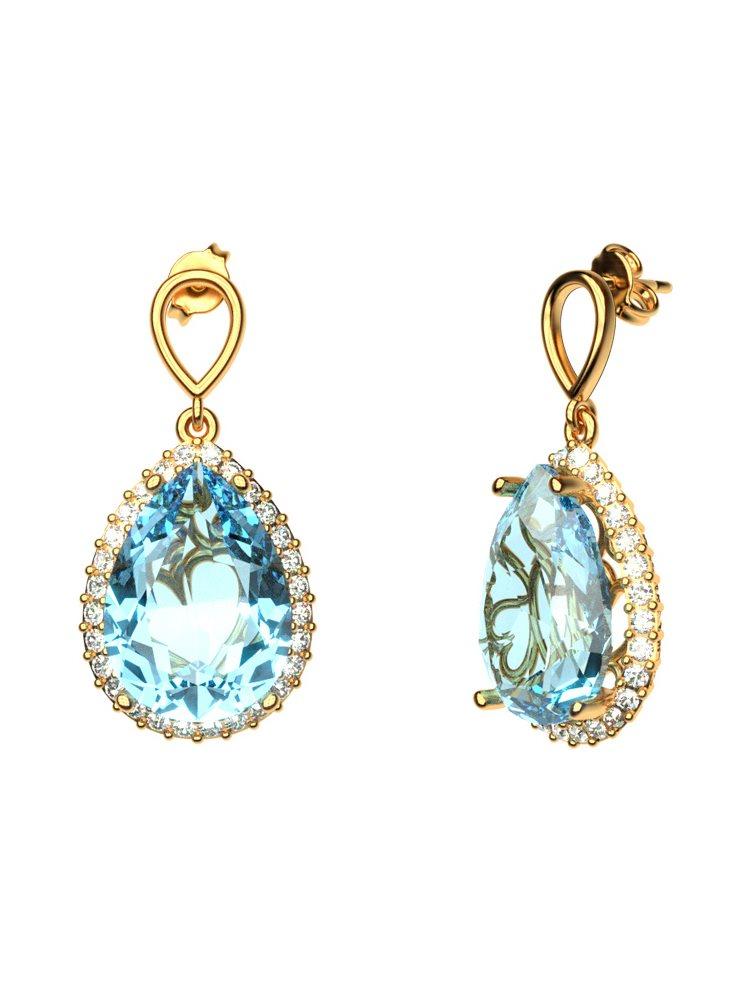Εντυπωσιακό ζευγάρι σκουλαρίκια σε σχήμα δάκρυ με πέτρες Swarovski από επιχρυσωμένο ασήμι