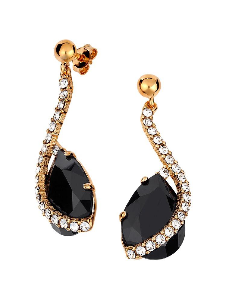 Εντυπωσιακό ζευγάρι σκουλαρίκια με πέτρες Swarovski από επιχρυσωμένο ασήμι