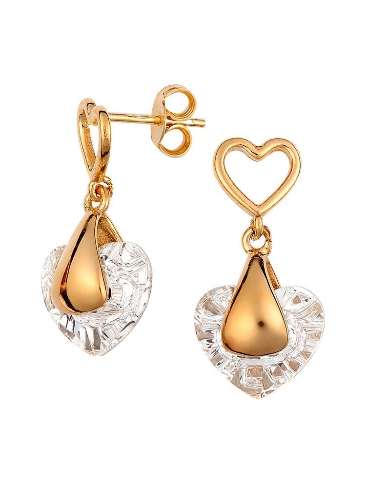 Εντυπωσιακό ζευγάρι σκουλαρίκια με πέτρα Swarovski από ρόζ επιχρυσωμένο ασήμι