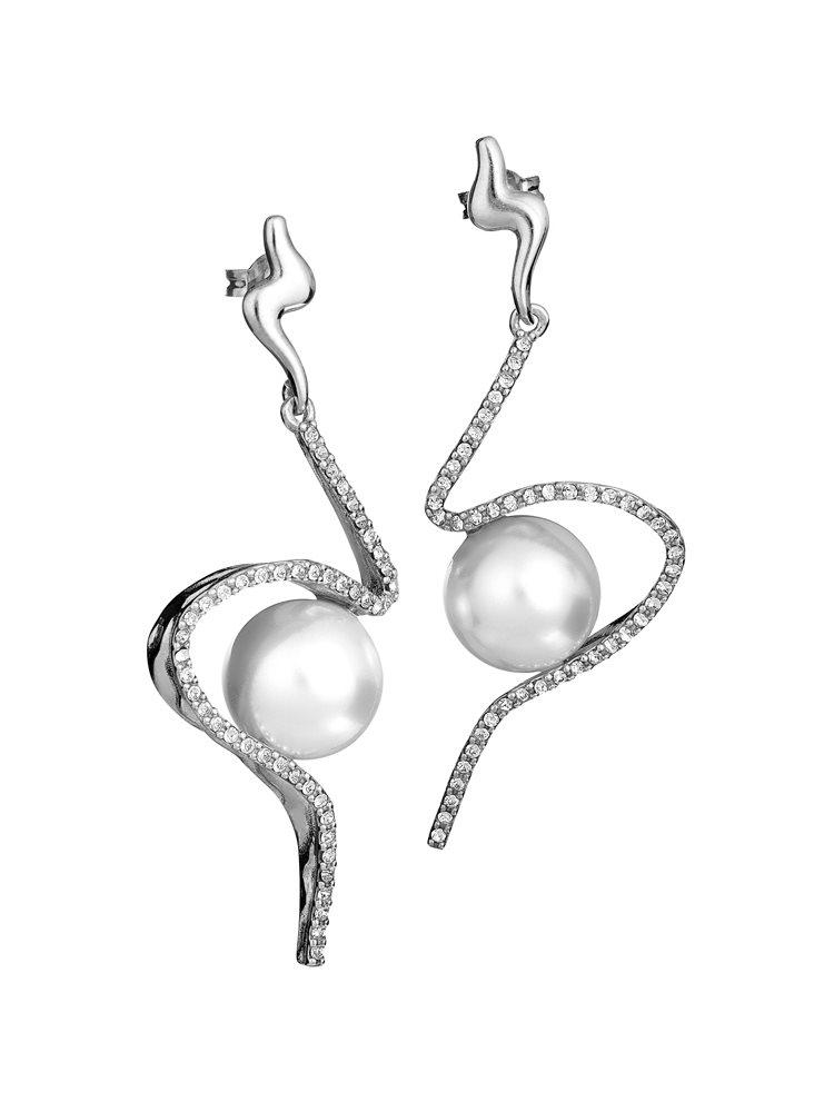 Εντυπωσιακό ζευγάρι σκουλαρίκια με πέτρες Swarovski από ασήμι και πέρλα