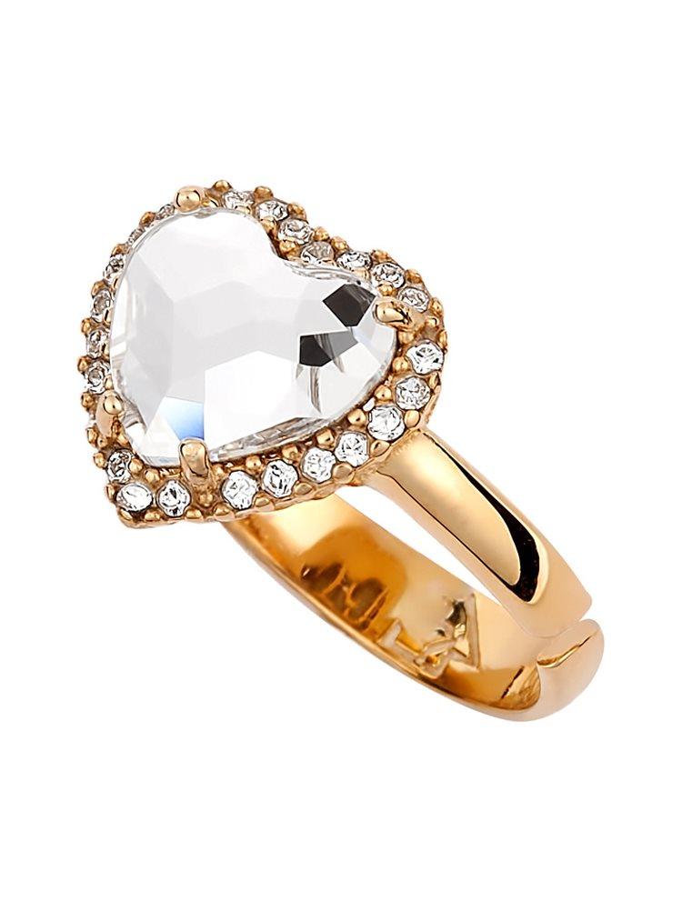 Δαχτυλίδι με πέτρες Swarovski σε σχήμα καρδιάς από επιχρυσωμένο ασήμι