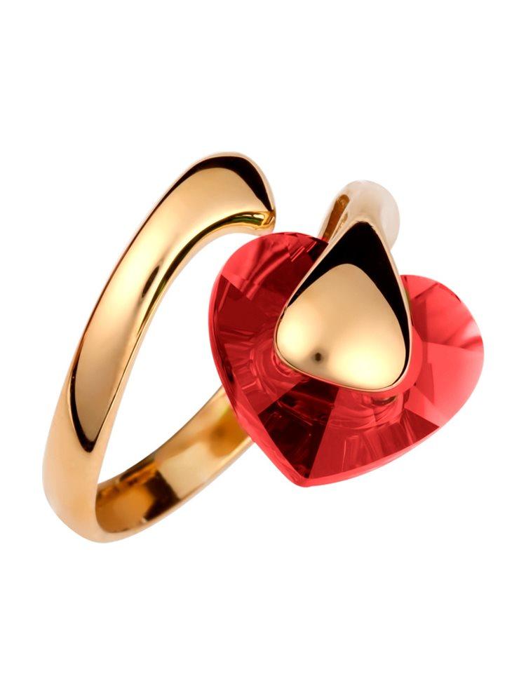 Δαχτυλίδι με πέτρα Swarovski από επιχρυσωμένο ασήμι σε σχήμα καρδιά