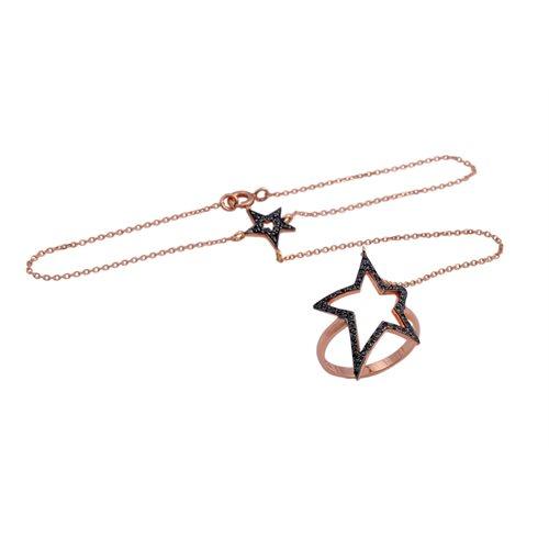 Βραχιόλι δαχτυλίδι χρυσό Κ9 με αστέρια από πέτρες ζιργκόν