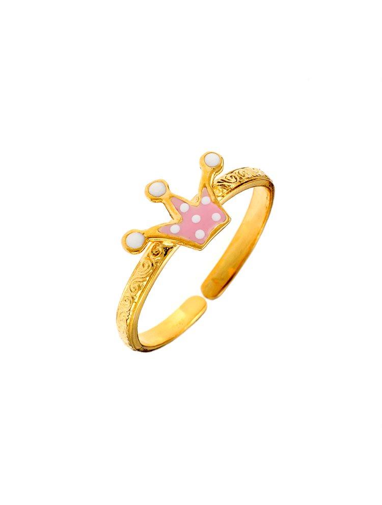 Παιδικό μοντέρνο δαχτυλίδι από χρυσό Κ9 με κορώνα
