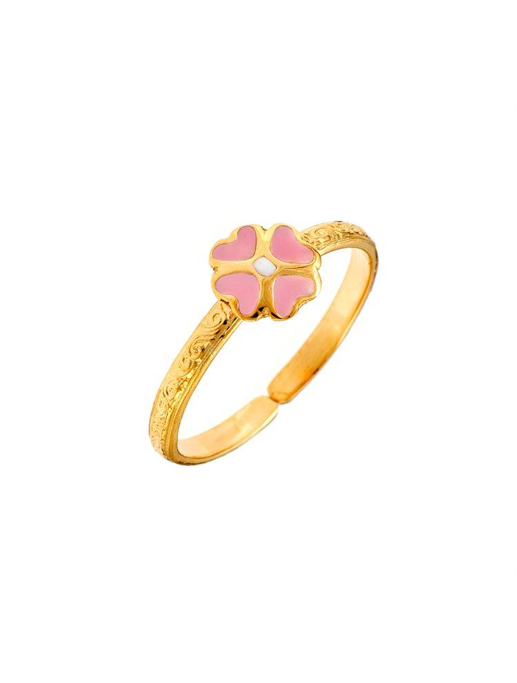 Παιδικό μοντέρνο δαχτυλίδι από χρυσό Κ9 με λουλούδι