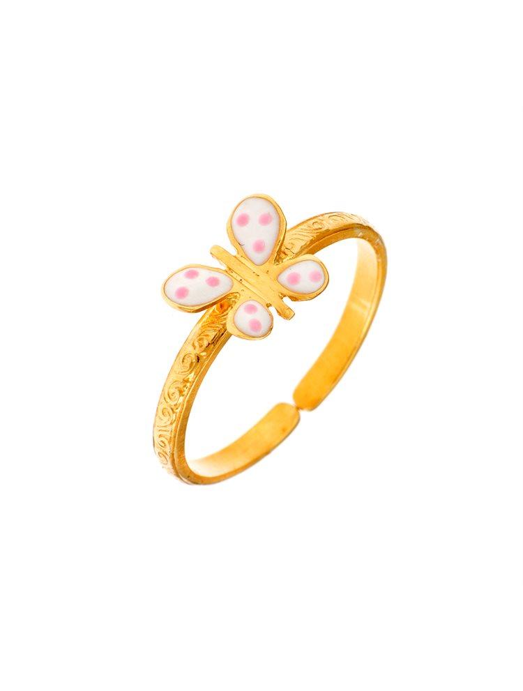 Παιδικό μοντέρνο δαχτυλίδι από χρυσό Κ9 με πεταλούδα