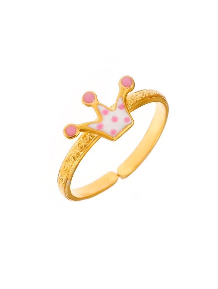 Παιδικό μοντέρνο δαχτυλίδι από χρυσό Κ14 με κορώνα